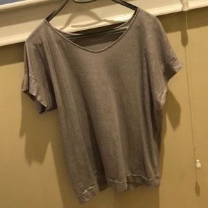 Eileen fisher size s linen silver shimmer top